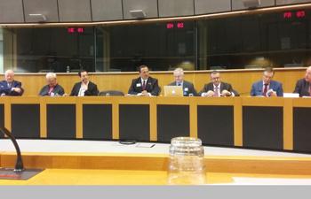 Sitzungssaal im europäischen Parlamentsgebäude - Podiatristen aus ganz Europa mit dem Präsidenten des internationalen Podiatristenverbandes FIP-IFP Dr. Matthew Garoufalis (USA) 4.v.l., dem FIP-IFP-Vizepräsidenten Christian Jerome (Frankreich) 3.v.l. und dem europäischen Vorsitzenden Dr. Carles Verges Salas (Spanien) 4.v.r.